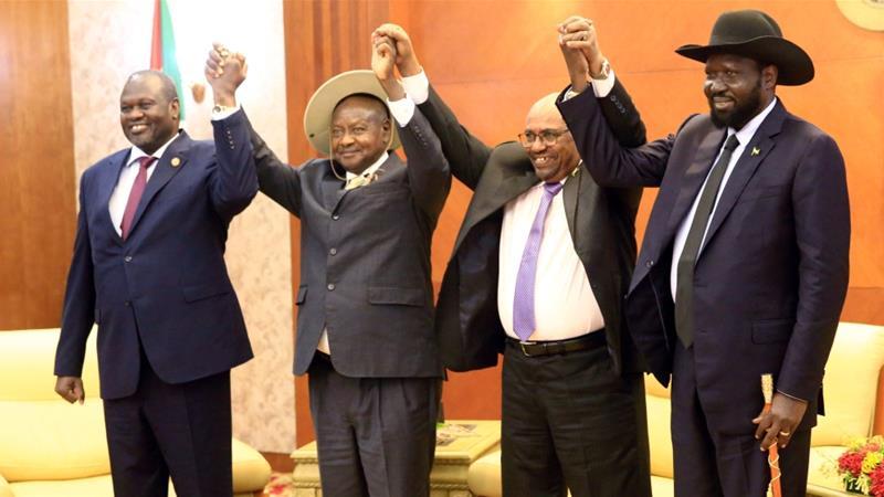 Image result for bashir and museveni make kiir and machar sign